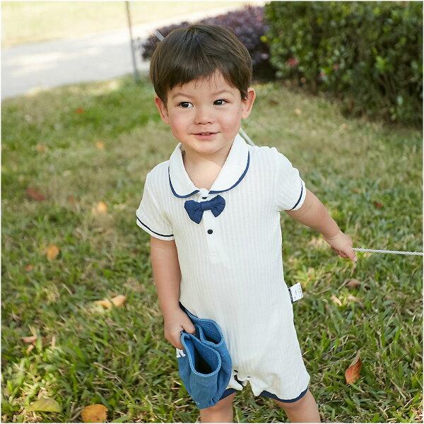 baby童衣:連身衣坑條布透氣海軍風爬衣80082