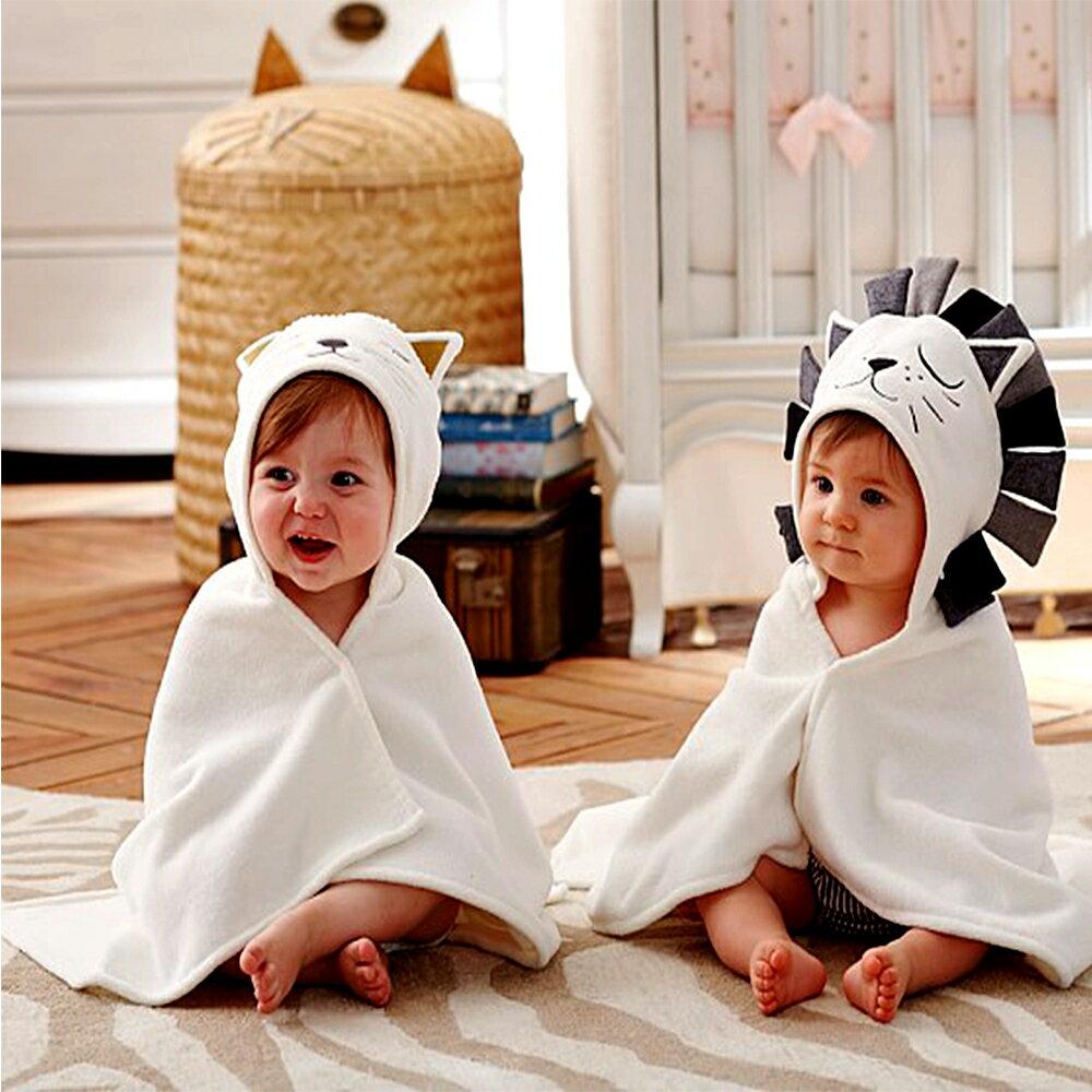 浴巾 動物造型 卡通連帽 純棉 抱被 抱毯 新生兒 包被 包巾 86005(好窩生活節)