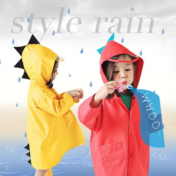 兒童防潑水衣立體小恐龍造型防風雨衣88001