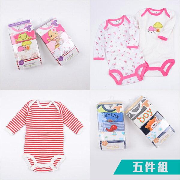 baby童衣:預購居家系列長袖三角包屁衣5件組y7006