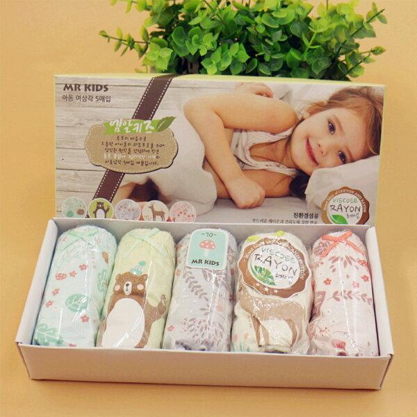 baby童衣:預購韓國兒童內褲男女童內褲三角內褲純棉內褲五入組禮盒y7022