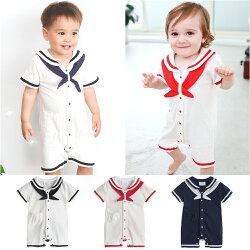 短袖連身衣 領巾 海軍風 男寶寶 女寶寶 前開釦 海軍 爬服 哈衣 Augelute Baby 32011