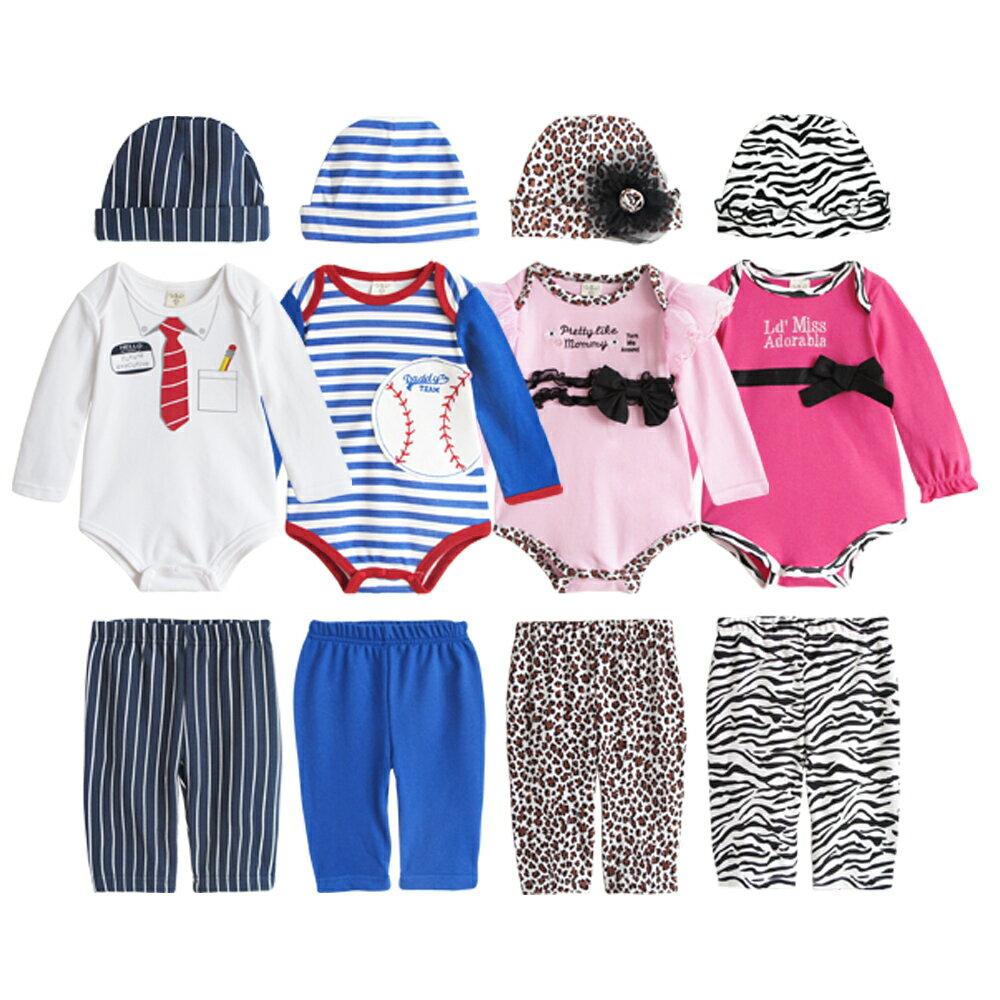 Augelute Baby 男女條紋動物紋 包屁衣 3件套 37291