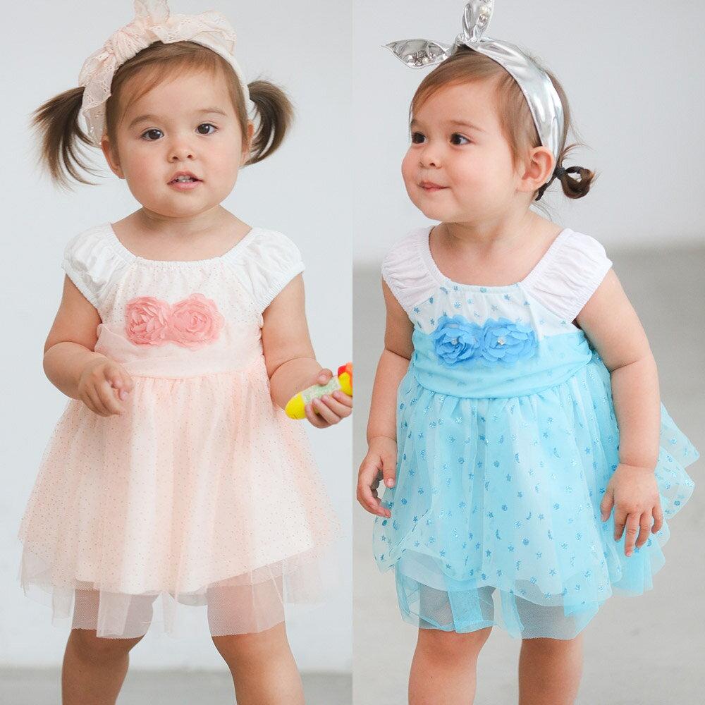 Augelute Baby 無袖立體玫瑰花亮片網紗裙 52353