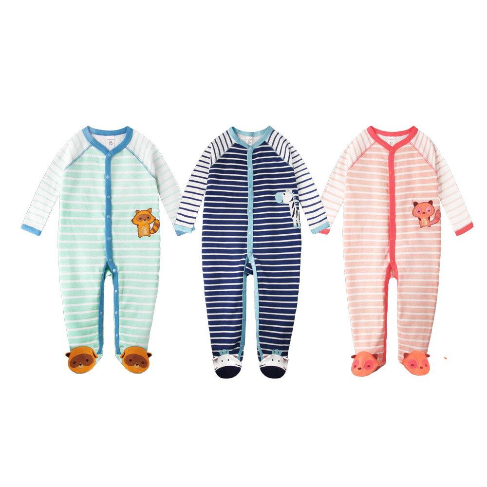Augelute Baby 簡約條紋動物造型包腳連身衣 60163