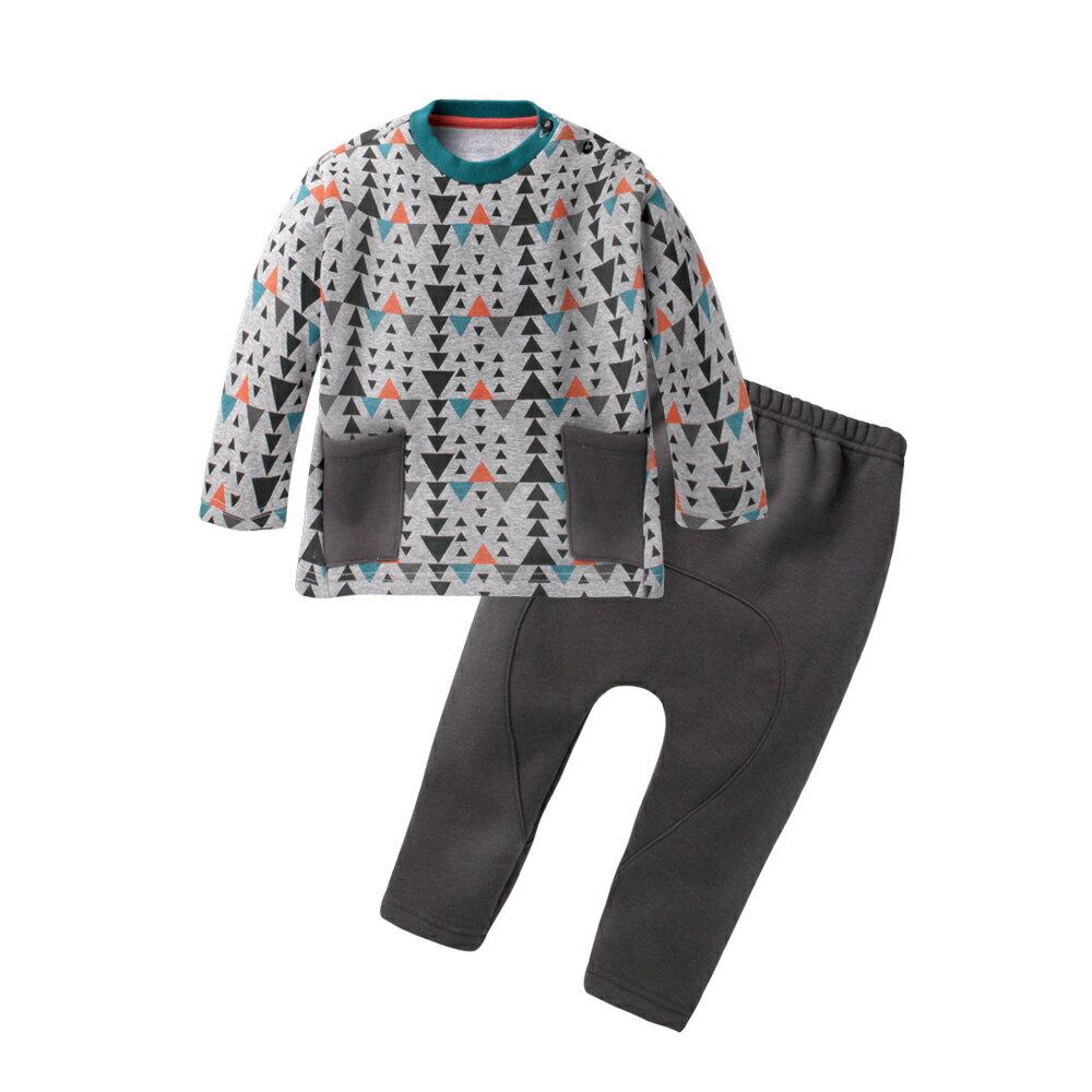 Augelute Baby 內刷毛保暖幾何上衣 素面長褲 套裝 60280
