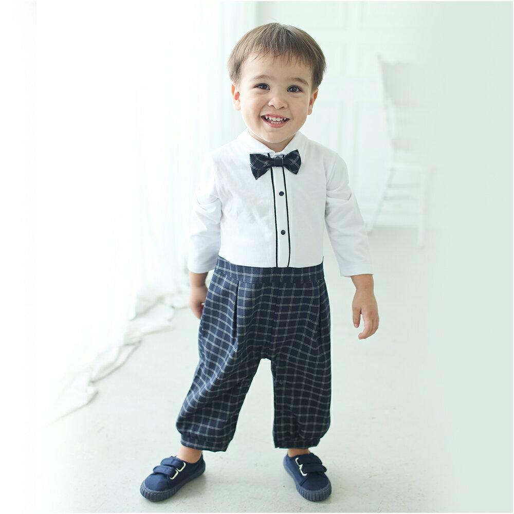 Augelute Baby 假兩件紳士西服格紋連身衣 60305