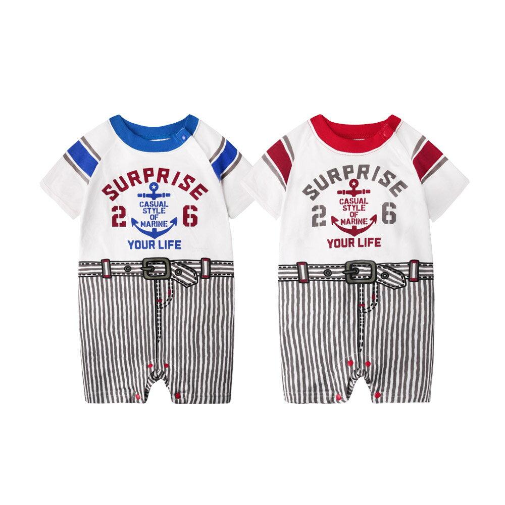 Augelute Baby 假兩件海錨印花條紋連身衣 61022