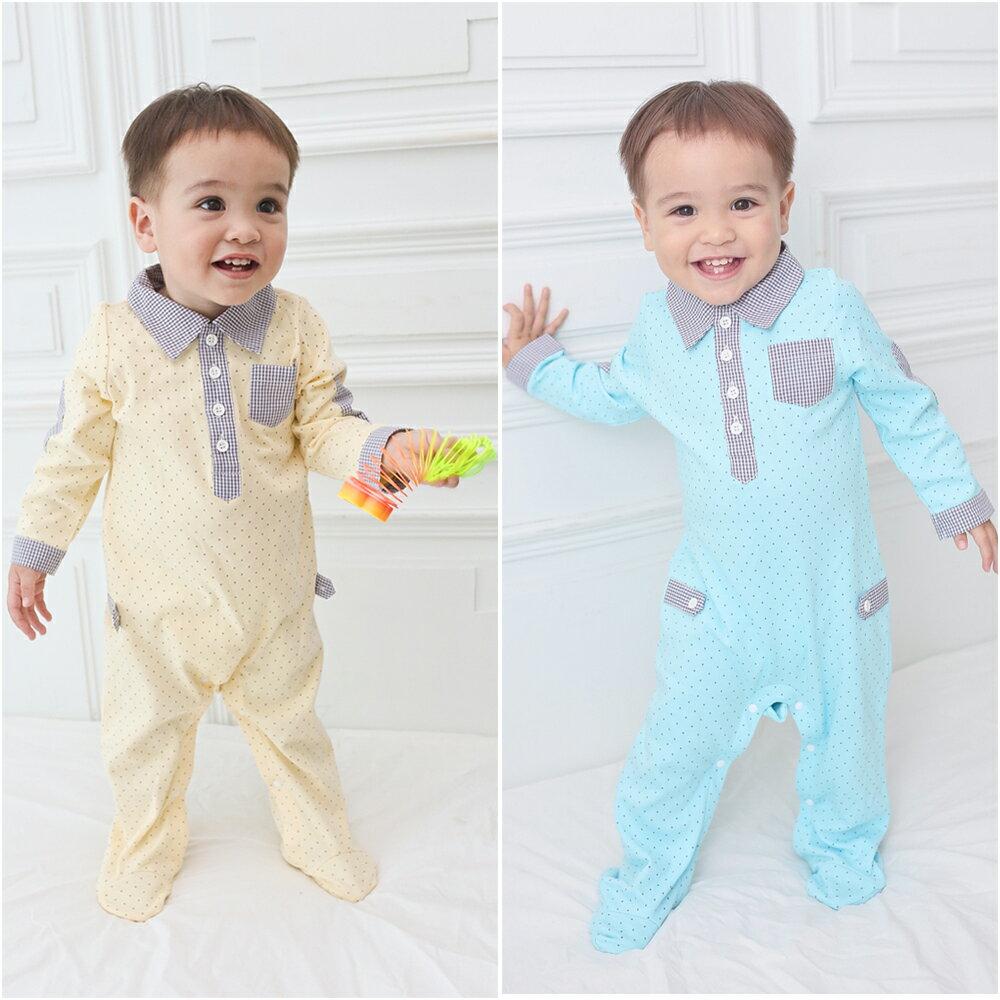 Augelute Baby 純棉襯衫領點點包腳連身衣 61032