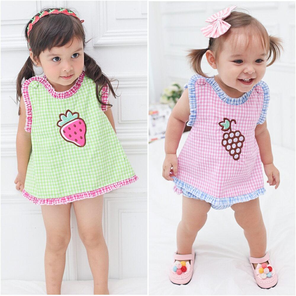 Augelute Baby 無袖水果刺繡後背交叉荷葉滾邊 套裝 61042