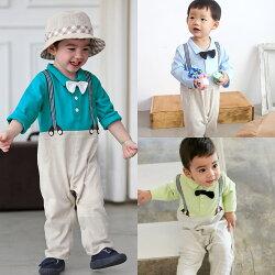 Augelute Baby 連身衣 紳士領結假吊帶爬服 61093