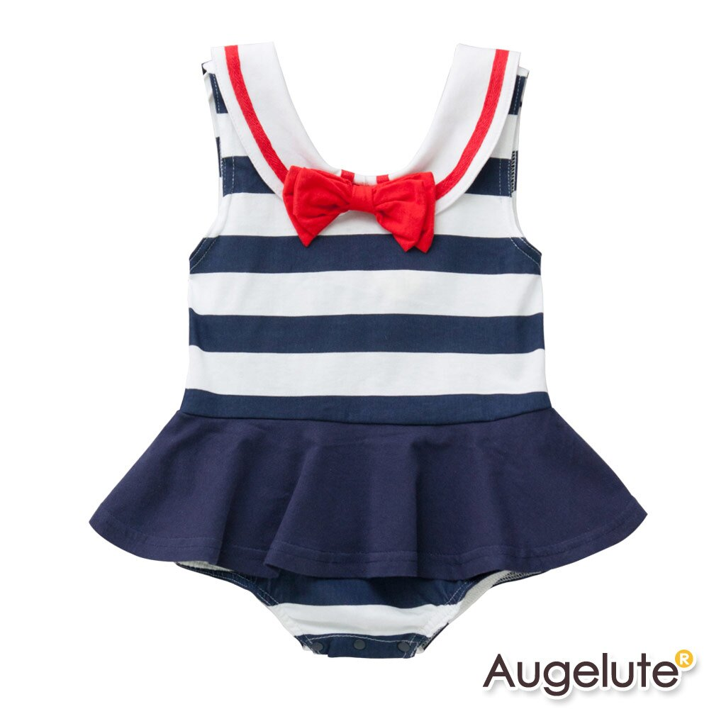 Augelute Baby 無袖海軍領水手服造型包屁裙 32018 1