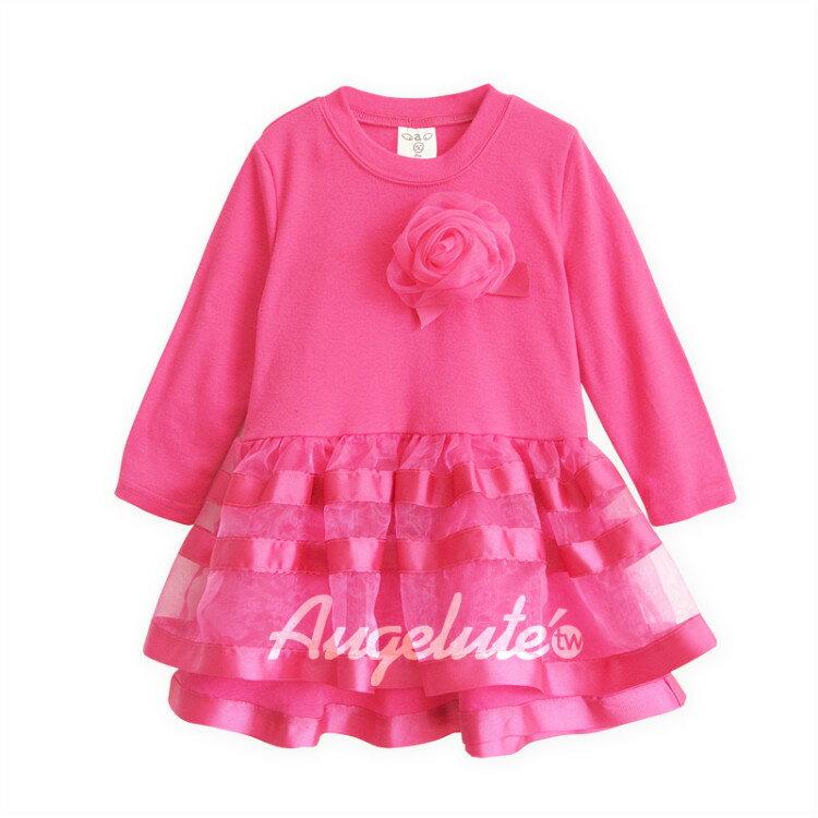 長袖洋裝 連衣裙 女童 紗裙 洋裙 連身裙 洋裝 附胸花 Augelute 37191(好窩生活節)