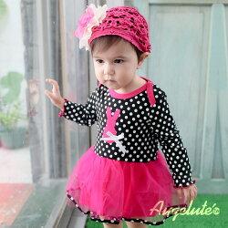 長袖包屁裙 水玉點點 兔子布繡 紗紗裙 女寶寶 包屁衣 爬服 哈衣 Augelute Baby 37223