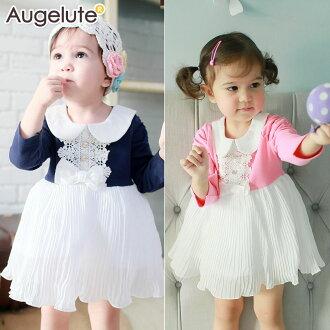 寶寶包屁裙 百摺裙 蕾絲珍珠 超有氣質的經典洋裙 37227