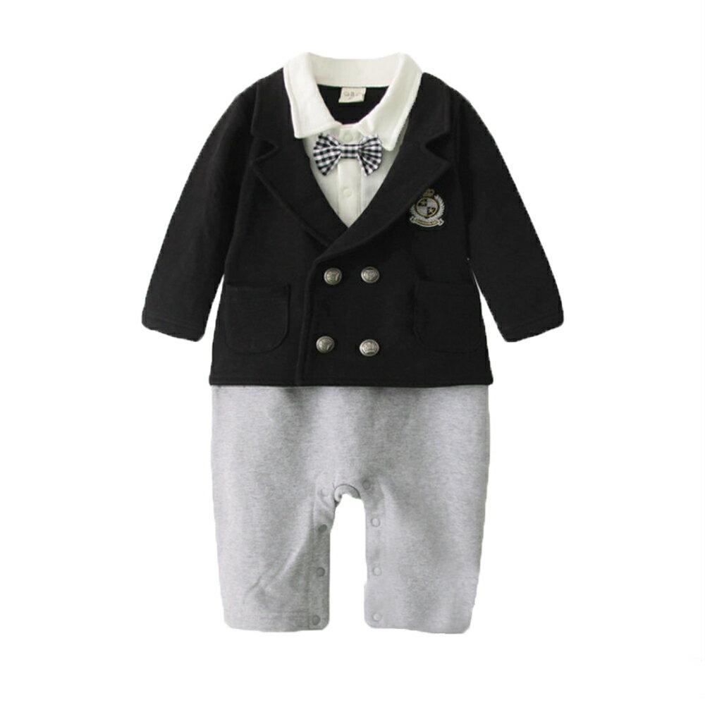 長袖連身衣 假兩件 紳士 禮服 男寶寶 小紳士 花童 喜宴 正式場合 爬服 哈衣 Augelute Baby 37251 1