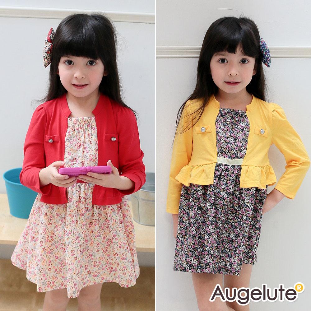 Augelute 女童 薄長袖假兩件碎花連身洋裝42015
