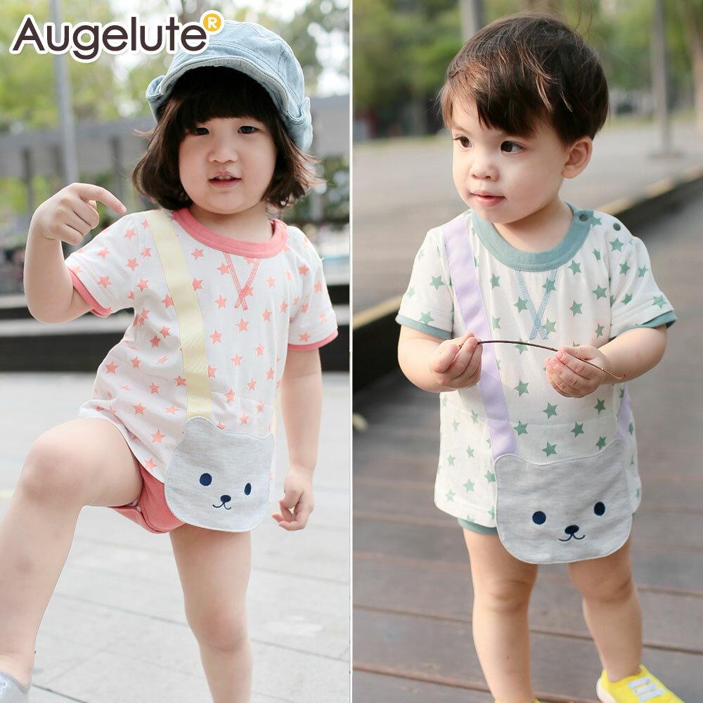 Augelute Baby 小熊貼布短袖連身包屁衣 42104