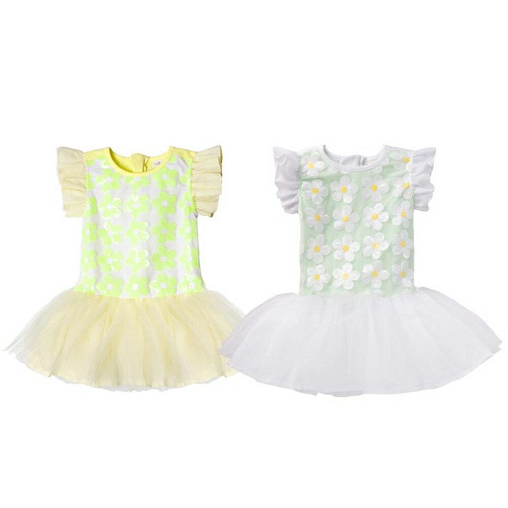 小飛袖洋裝 夏日 亮片 花朵 女童 連身裙 連衣裙 洋裙 Augelute 42144