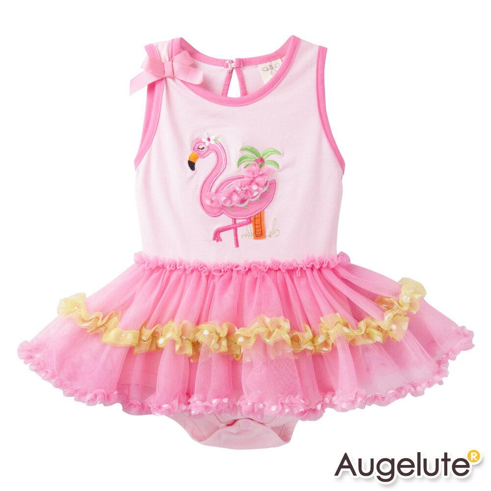 Augelute Baby 無袖粉天鵝布繡紗紗包屁裙 42175