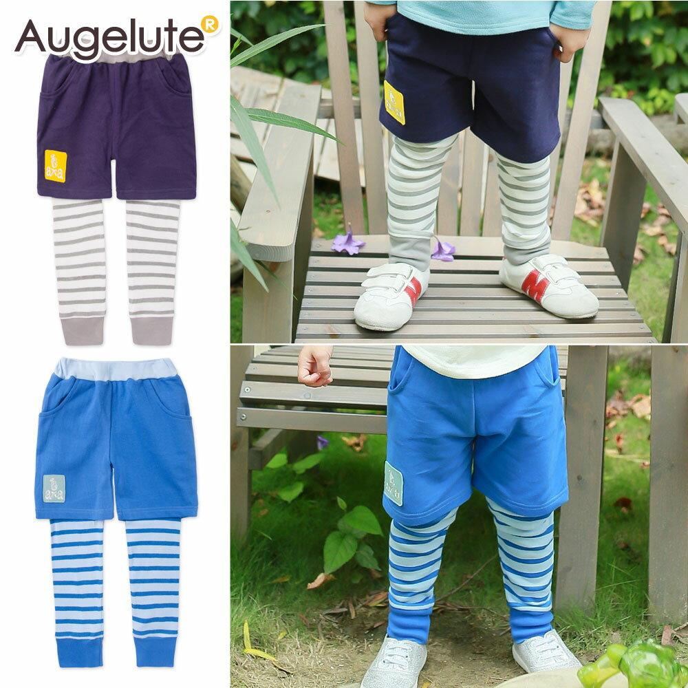 Augelute 兒童 假兩件美式條紋休閒褲 47020