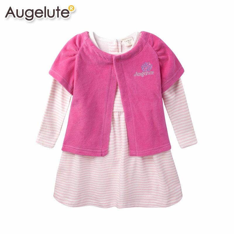 Augelute Baby 長袖條紋連身裙細絨毛小外套 2件套 47037
