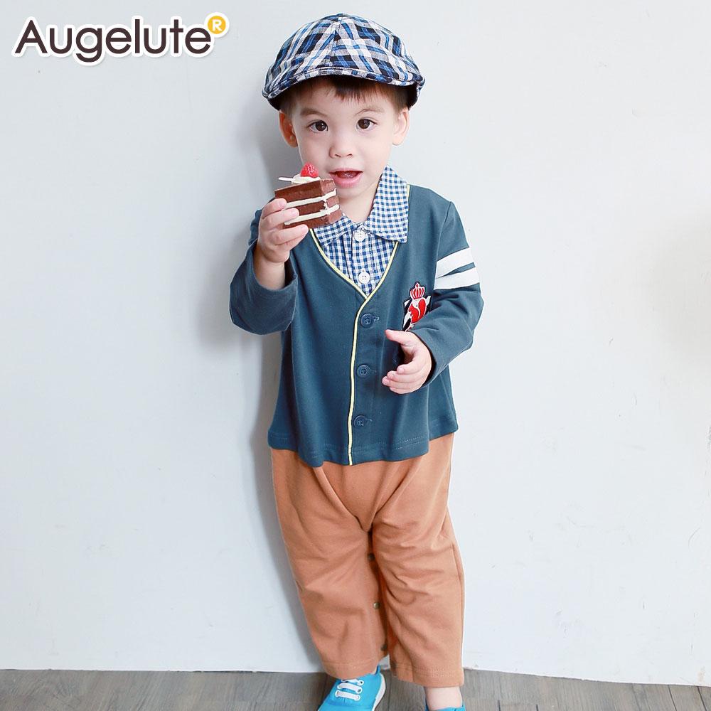 Augelute Baby 假兩件格紋英倫學院風連身衣 47080