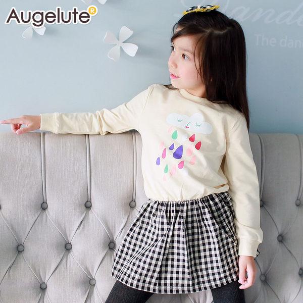 Augelute 長袖卡通印花格紋打褶連身裙 47103