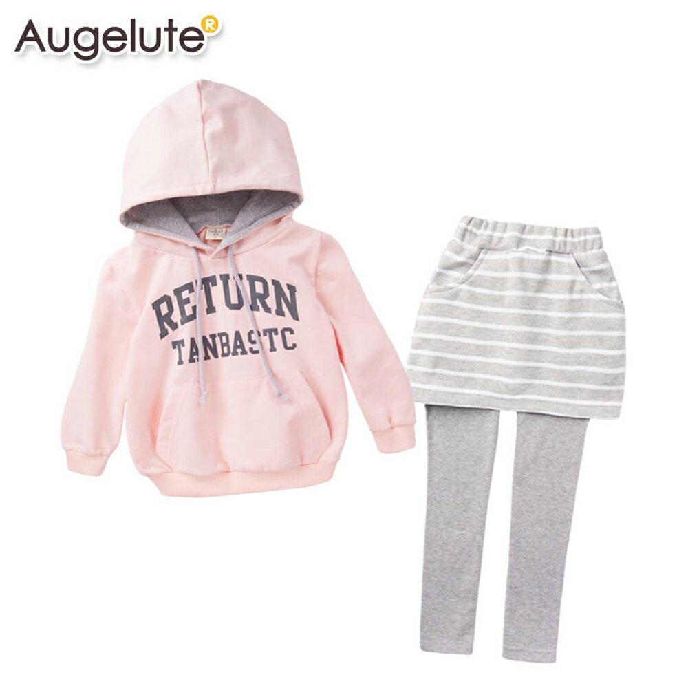 Augelute 親子套裝 純棉印字帽T條紋褲裙 小孩款2件套 47114 1