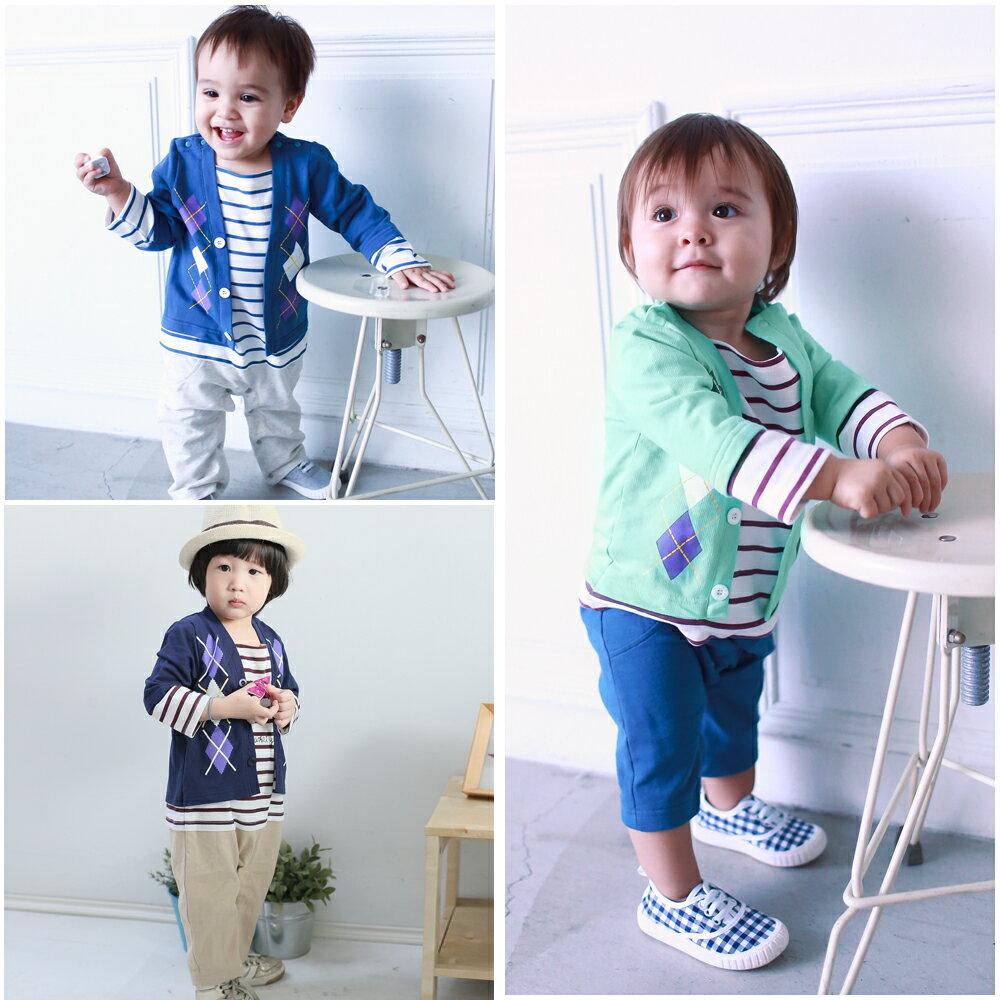 Augelute Baby  假兩件紳士菱格條紋連身衣 50454