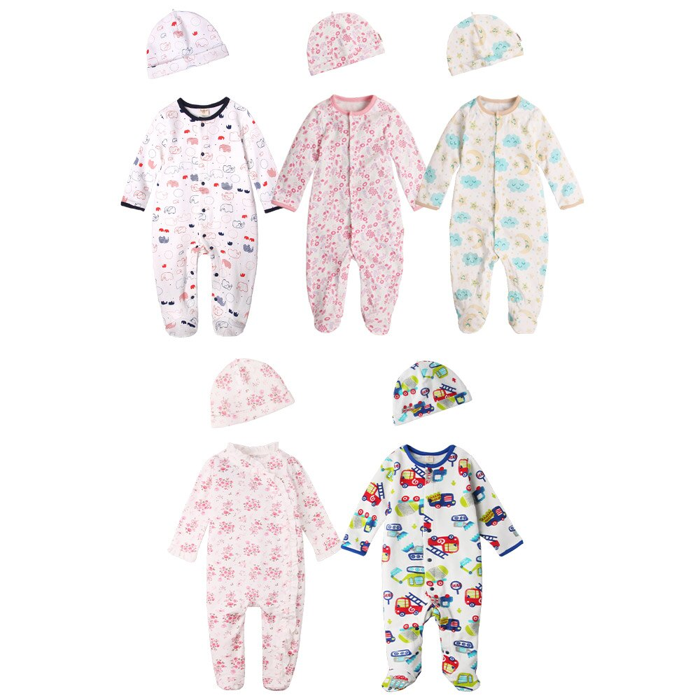 Augelute Baby 純棉長袖包腳連身衣 含嬰兒帽   50517 0