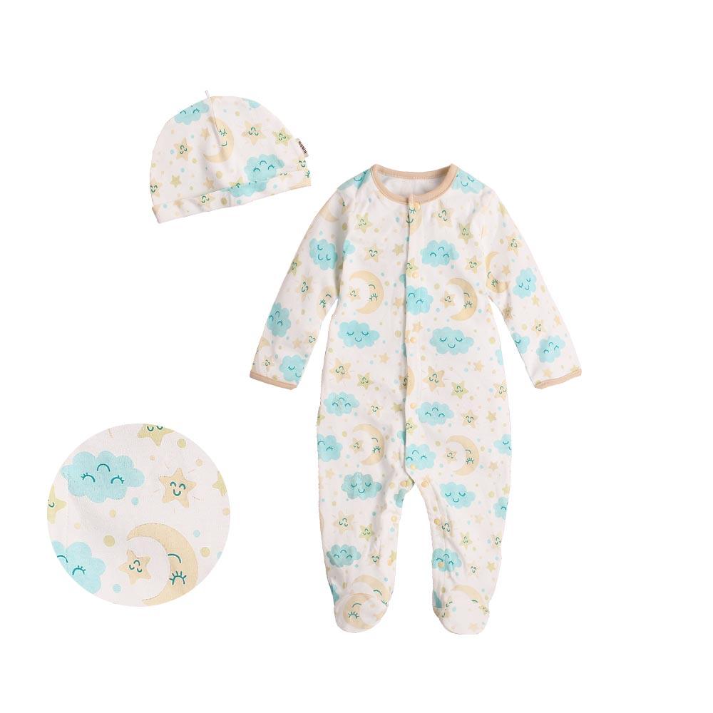 Augelute Baby 純棉長袖包腳連身衣 含嬰兒帽   50517 4