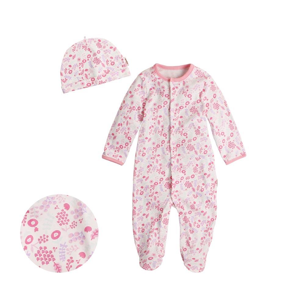 Augelute Baby 純棉長袖包腳連身衣 含嬰兒帽   50517 5