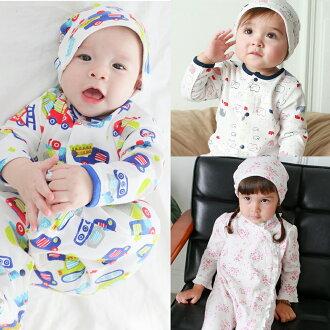 Augelute Baby 純棉長袖包腳連身衣 含嬰兒帽  50517