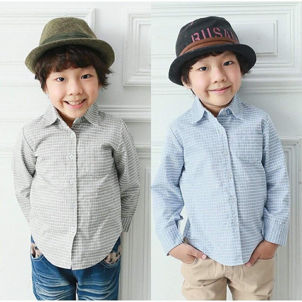 Augelute 男童帥氣格紋長袖襯衫 50617