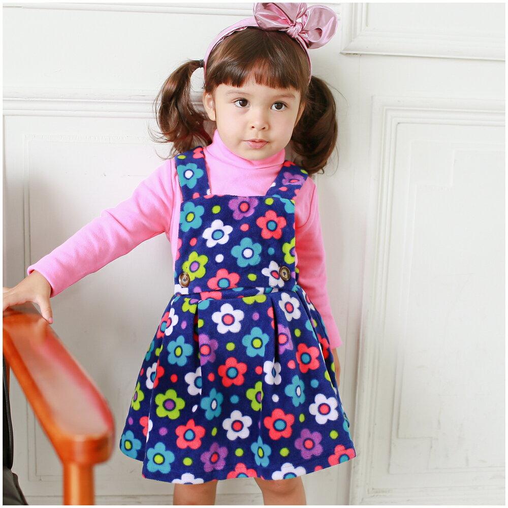 Augelute 花朵印花細刷毛保暖吊帶裙 50687