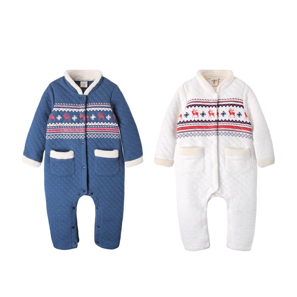 Augelute Baby  民族風圖騰立領空氣棉連身衣 50707