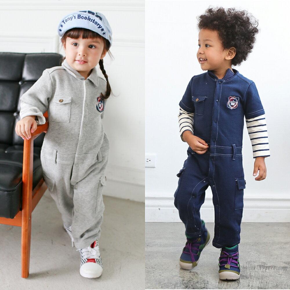 Augelute Baby 假兩件仿牛仔內刷毛工作服連身衣 50737