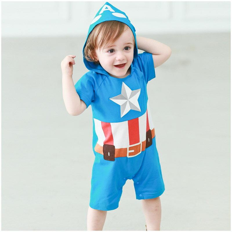 Augelute Baby 美國隊長立體發泡印刷連帽爬服 52384(好窩生活節) 0