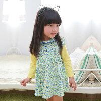 婦嬰用品Augelute 領口蕾絲滾邊小碎花拼接袖洋裝 53005(好窩生活節)。就在baby童衣婦嬰用品