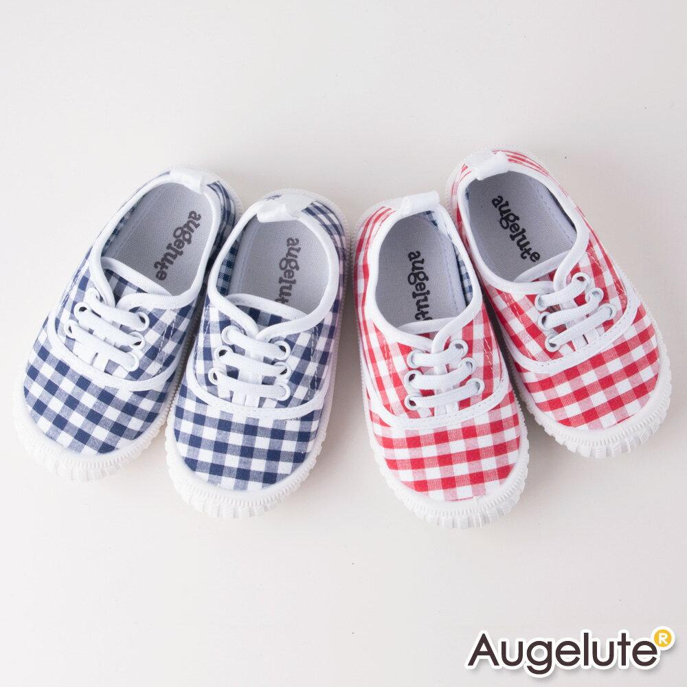 童鞋 格子圖案帆布休閒鞋 F1021~13