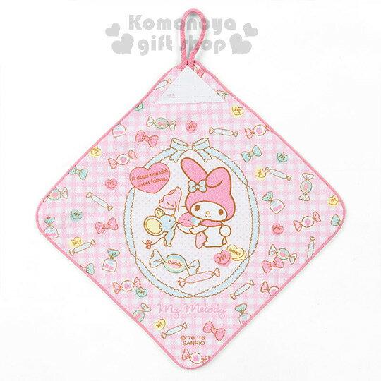〔小禮堂〕美樂蒂 擦手巾《粉白格紋.側站.老鼠.糖果.蝴蝶結》可寫名字標註
