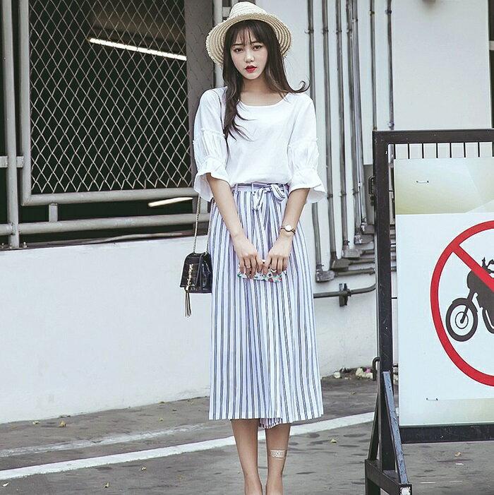 PS Mall  棉麻寬鬆襯衫條紋薄款鬆緊腰闊腿褲二件套裝~WT1841~ ~  好康折扣