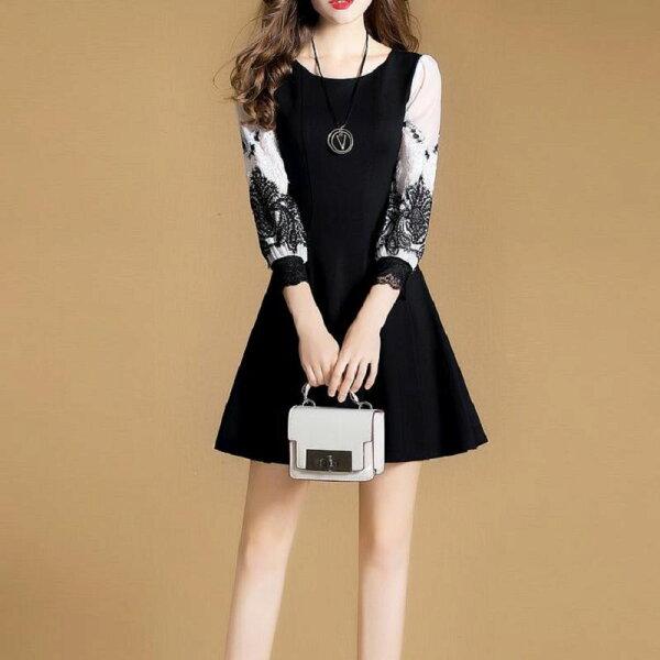 韓風衣舍:韓風衣舍新款時尚復古七分袖收腰洋裝AB170