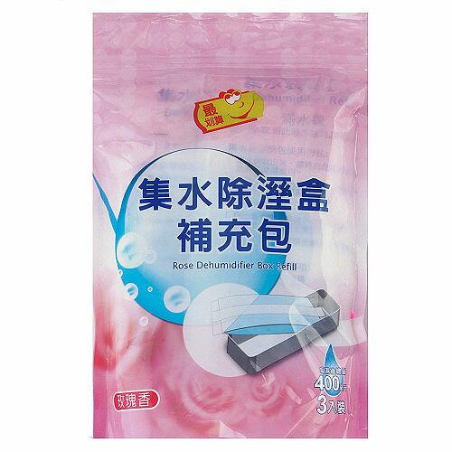 最划算集水袋除濕盒補充包-玫瑰香400ml*3入袋【愛買】
