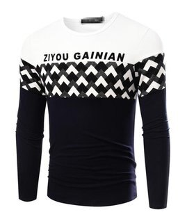 FINDSENSEZ1日系流行男時尚大碼圓領拼色格紋字母長袖T恤上衣特色長T