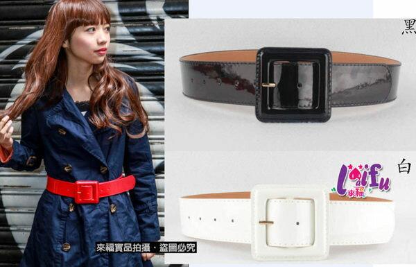 草魚妹:★草魚妹★H60腰帶明星同款韓版漆皮腰帶皮帶,售價250元