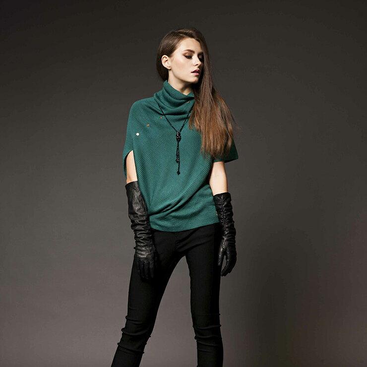 【HEDY 赫蒂】高領領罩衫 素面側縫排釦 針織上衣 短袖 毛衣(黃/藍綠)