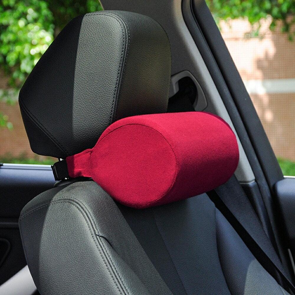 汽車圓柱頭枕車用護頸枕頭靠枕駕駛座椅圓形枕頭靠枕記憶棉頸椎枕 極客玩家