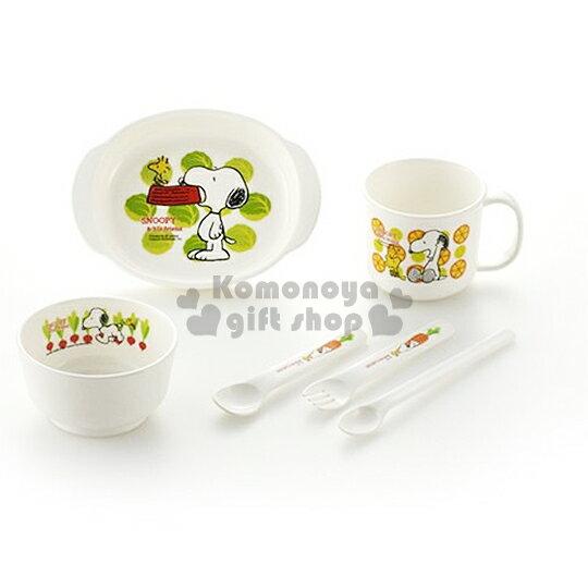 〔小禮堂嬰幼館〕日本Richell 史努比 嬰兒餐具組《白.咬碗.糊塗塔克.蔬菜.6件組》